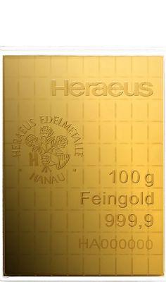 100 x 1g Gold Combibarren / Goldtafel / Tafelbarren