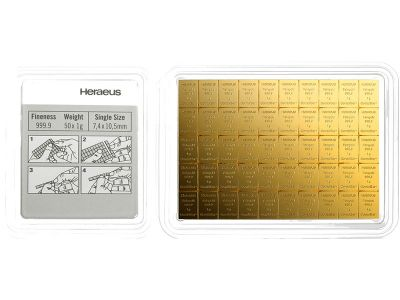 50 x 1g Gold Combibarren / Goldtafel / Tafelbarren