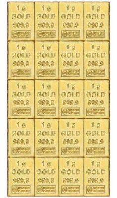 20 x 1g Gold Combibarren / Goldtafel / Tafelbarren